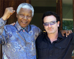 Bono y Nelson Mandela