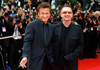 Bono y Sean Penn en el festival de cine de Cannes, Francia 2008