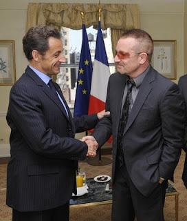 Bono y nicolas Sarkozy en New York