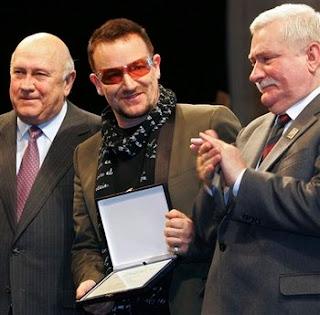 Bono, Lech Walesa y F. W. de Klerk