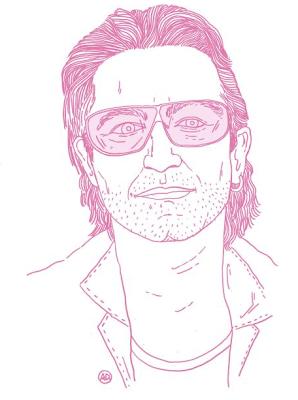 Bono dibujado por Carla Bruni