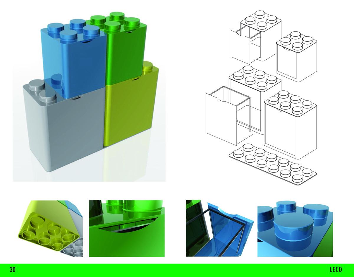 Contenitore raccolta differenziata leco design flussocreativo - Bidoni per differenziata casa ...