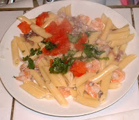 Shrimp & Prosciutto Penne Pasta Grand Floridian Café The Recipes Of Disney 1 lb Penne 2 tbsp Olive Oil 1 tbsp Garlic 10 oz Shrimp 1/2 cup Prosciutto, chopped 1/2 cup White Wine 1 cup Heavy Cream 1/2 cup Parmesan, grated 1/4 cup Ba