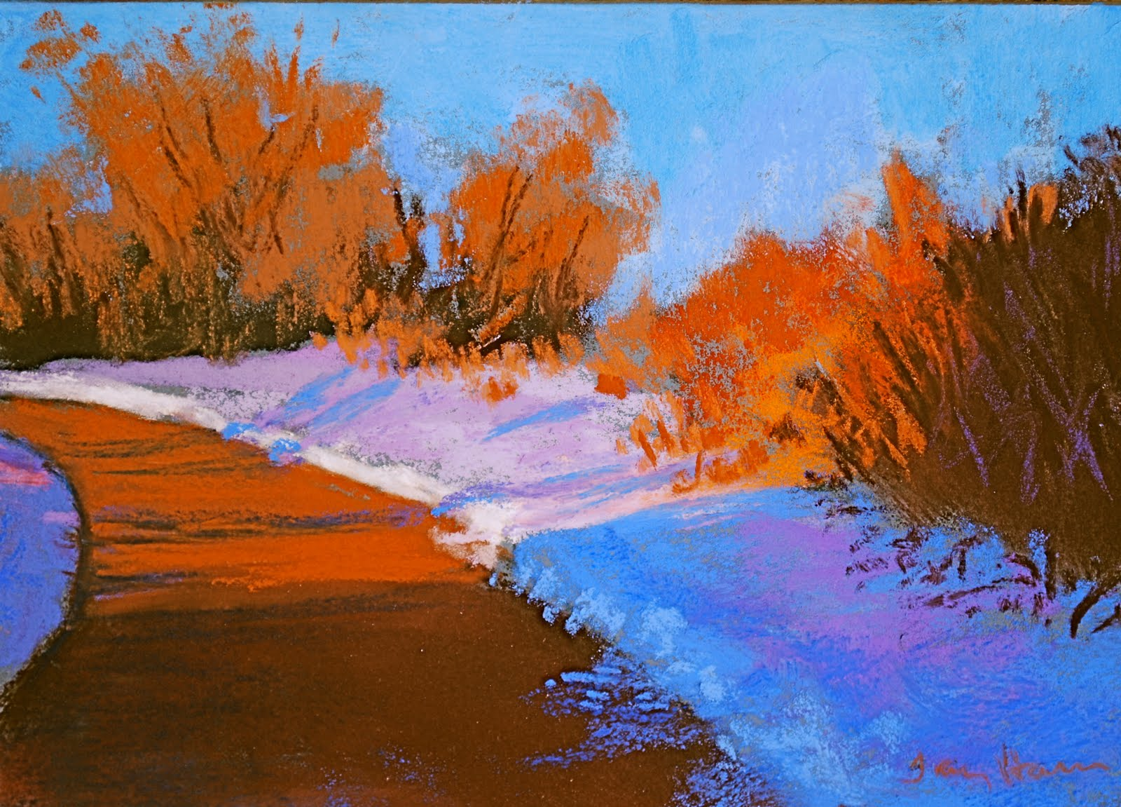 Stroll Along Platte Colorful Landscape Paintings By Colorado Artist Tracy Haines In Oil And Pastel Simple Shapes Complementary Color Scheme