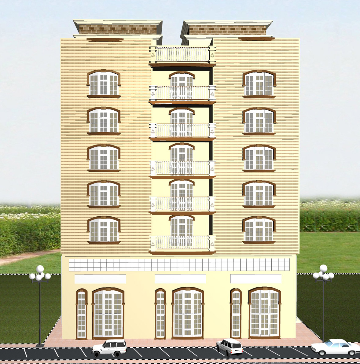 Jelin Dino: G+5 Building Front View 3D Works
