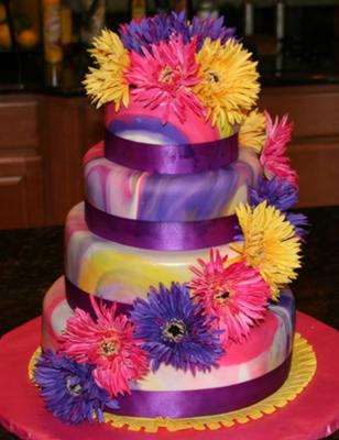 tie-dyed fondant wedding cake