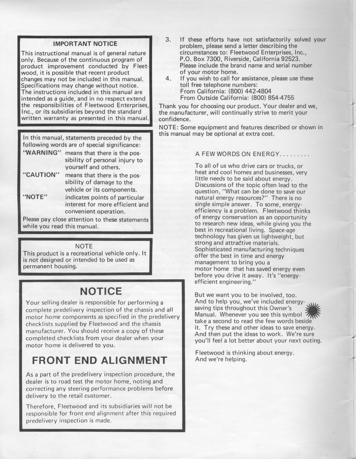 1983 Fleetwood Pace Arrow Owners Manuals: 1983 Fleetwood