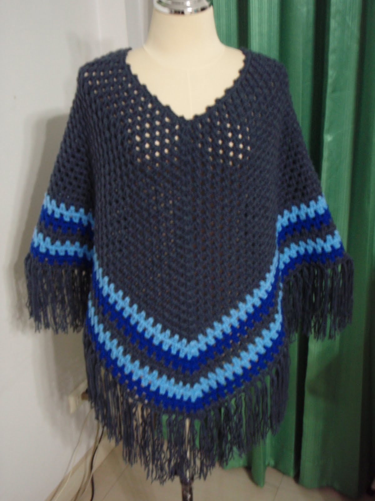 16067b971 Myknittingdaily: Crochet Poncho Cape and Wrap in Dark Blue color