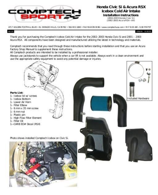 Honda Civic Si & Acura RSX Icebox Cold Air Intake