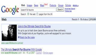 Google Search for Bourne promotion