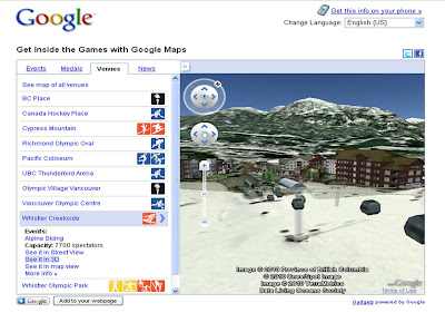 Vancouver Winter Olympics 2010 Google 3D Maps Earth imagery