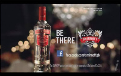 Smirnoff TV ad with Facebook Fan Page address