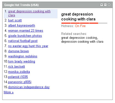 Google Hot Trends Great Depression Cooking Clara