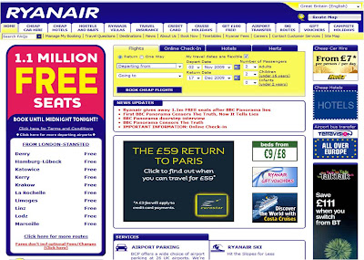 ryanair homepage with eurostar ad
