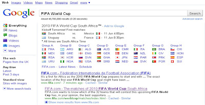 Google FIFA World Cup 2010 Search results page