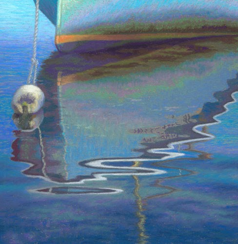 Pastel Painting Daily Painting Seascape Reflected Boat