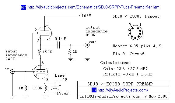 Tube Preamplifier Circuit 6DJ8 / ECC88 SRPP |simple