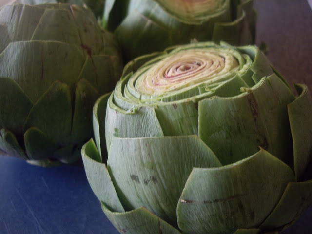 A close up of an artichoke with the top cut off of it.