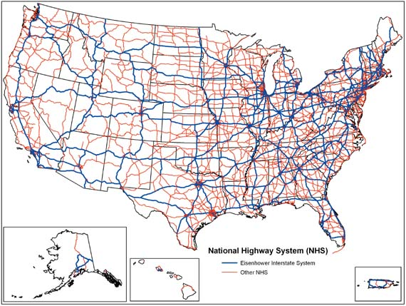 map attack national highway system [united states]