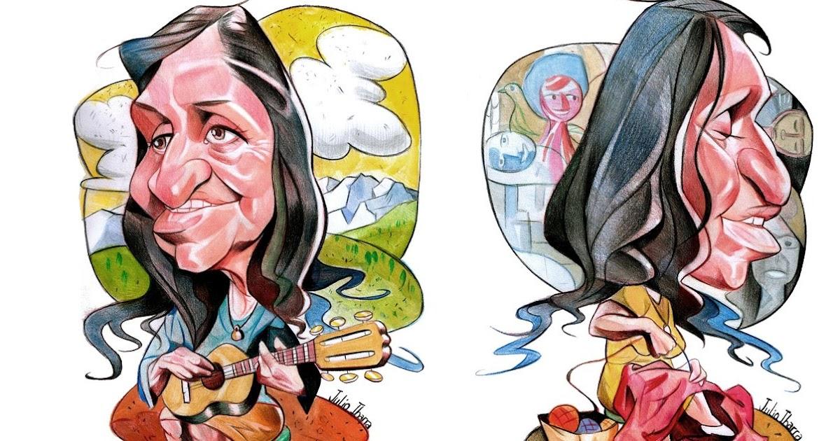 Resultado de imagen para caricatura de Violeta Parra