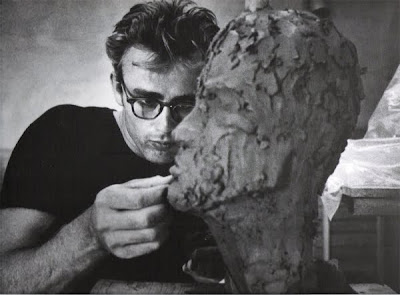james dean wearing glasses molding clay