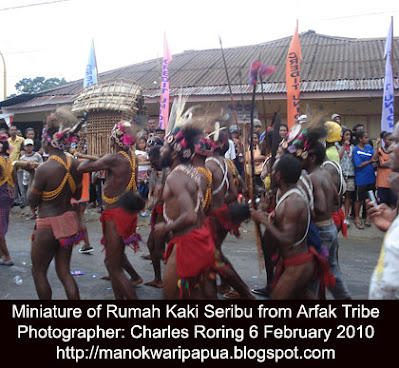 A tribe from Arfak mountains in traditional costume were participating in Karnaval Budaya