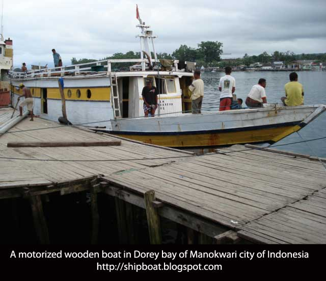 motorized wooden boat