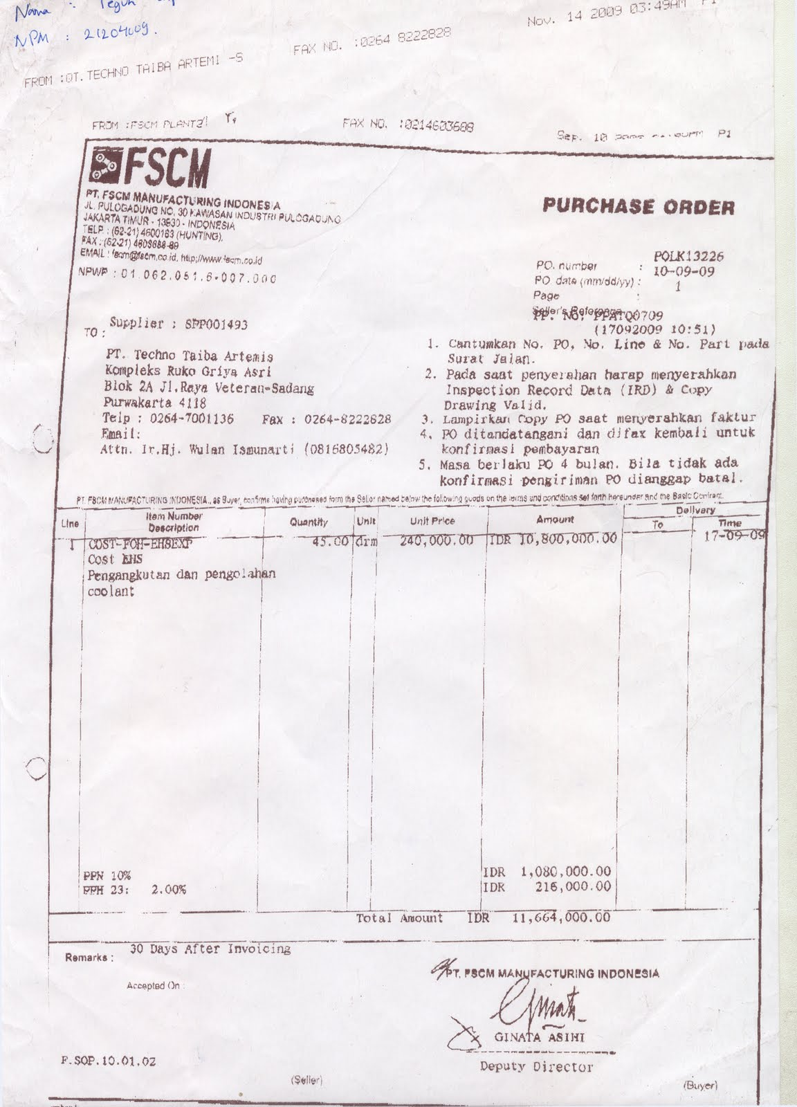 Contoh purchase order spanduk purchase order catatan tugas