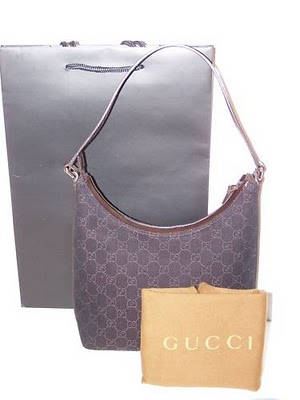 Nwt Gucci Dark Brown Denim Canvas Gg Hobo Bag
