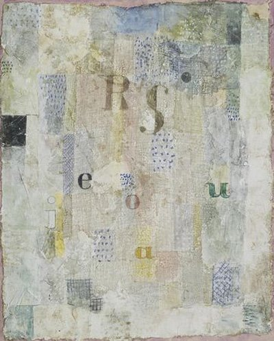 Paul Klee   Vocal Fabric of the Singer Rosa Silber, 1922 Watercolor and ink on plastered fabric mounted on board, with watercolor and ink borders 62.3 x 52.1 cm