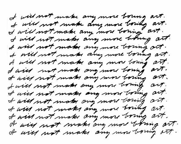 John Baldessari  I will not make any more boring art, 1971 lithograph on paper 56.8 x 75.1 cm