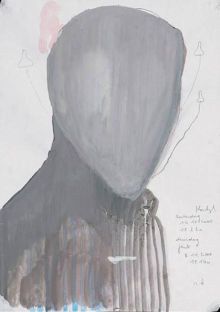 Ronny Delrue diary note 14.10.2000, 2000 gouache on paper 29.7 x 21 cm