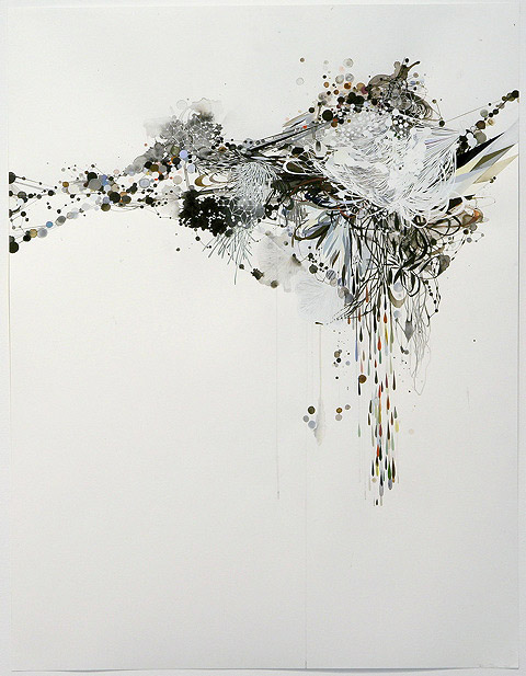 Reed Danzinger an interrmediate order, pulled, 2008 watercolor, gouache, graphite and silkscreen on paper 50 x 38 inches