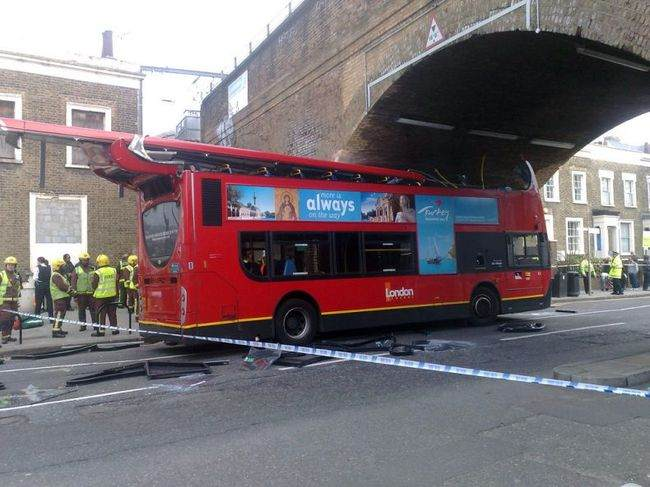 Roof ripped from bus in London