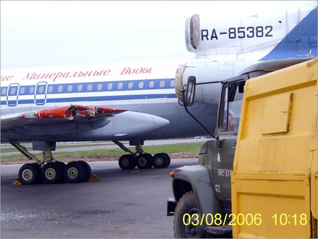 The aircraft against truck