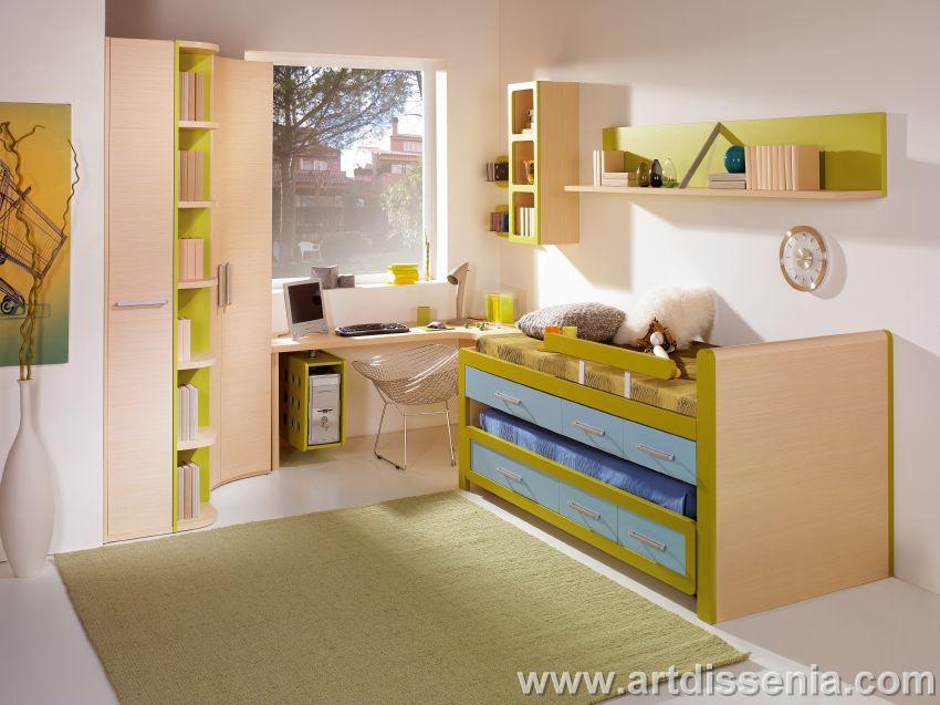 Decoracion dise o dormitorio juvenil funcional para for Recamaras para ninos espacios pequenos