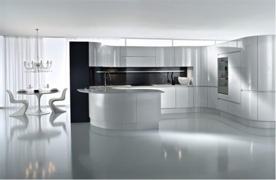 Ideas de dise o de cocinas en blanco y negro decorando mejor for Diseno cocinas en u