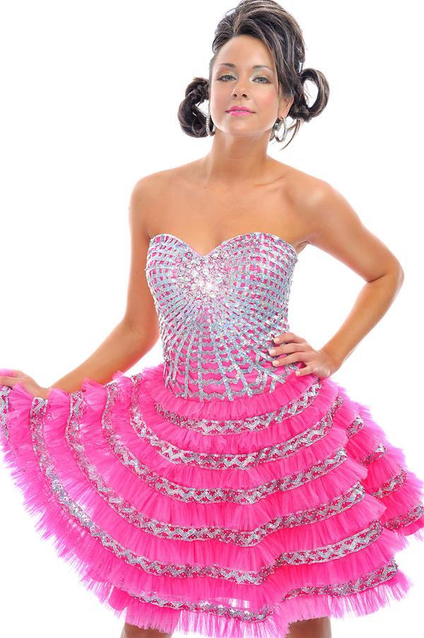 Atractivo Vestido De Fiesta De Encaje De Color Rosa Y Negro Imagen ...