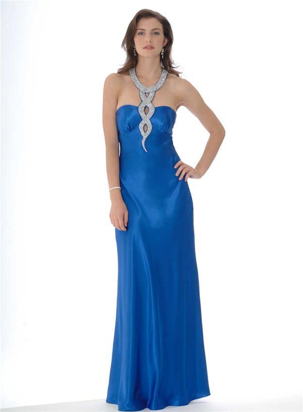 ef877d9d6 Lindo vestido para fiesta de promoción pegado strapless de color azul  eléctrico