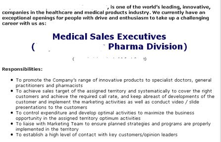 These Are The Advertised Skills Needed Of A Pharma Sales