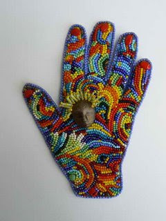 Beaded Artist's Hand by Bobbi Kirk