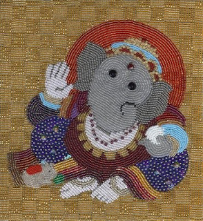 Ganesha, bead embroidery by Liz Thompson