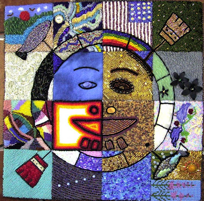 bead quilt, Spirit Mask, by Mat-Su Valley Bead Society