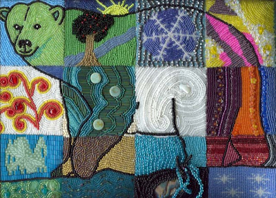 bead quilt, Bear of a Different Color, by Mat-Su Valley Bead Society