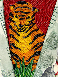improvisational bead embroidery by Robin Atkins, Bead Journal Project, August 2007, tiger detail