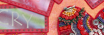 detail, bead embroidery collage, bead journal project for February, by Robin Atkins
