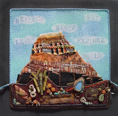 bead embroidery collage by Robin Atkins, bead journal project, butte at Grand Canyon