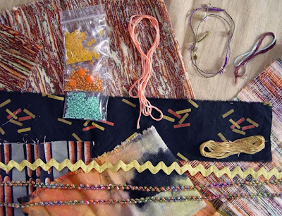 bead embroidery collage by Robin Atkins, bead journal project, fabrics, trims, beads