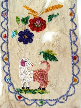 vintage bead embroidery, dog design, Robin Atkins collection