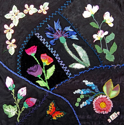Allison Aller, one of samplers for class in crazy quilting, surface sculpture